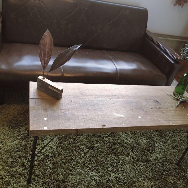 古材と鉄脚のローテーブル