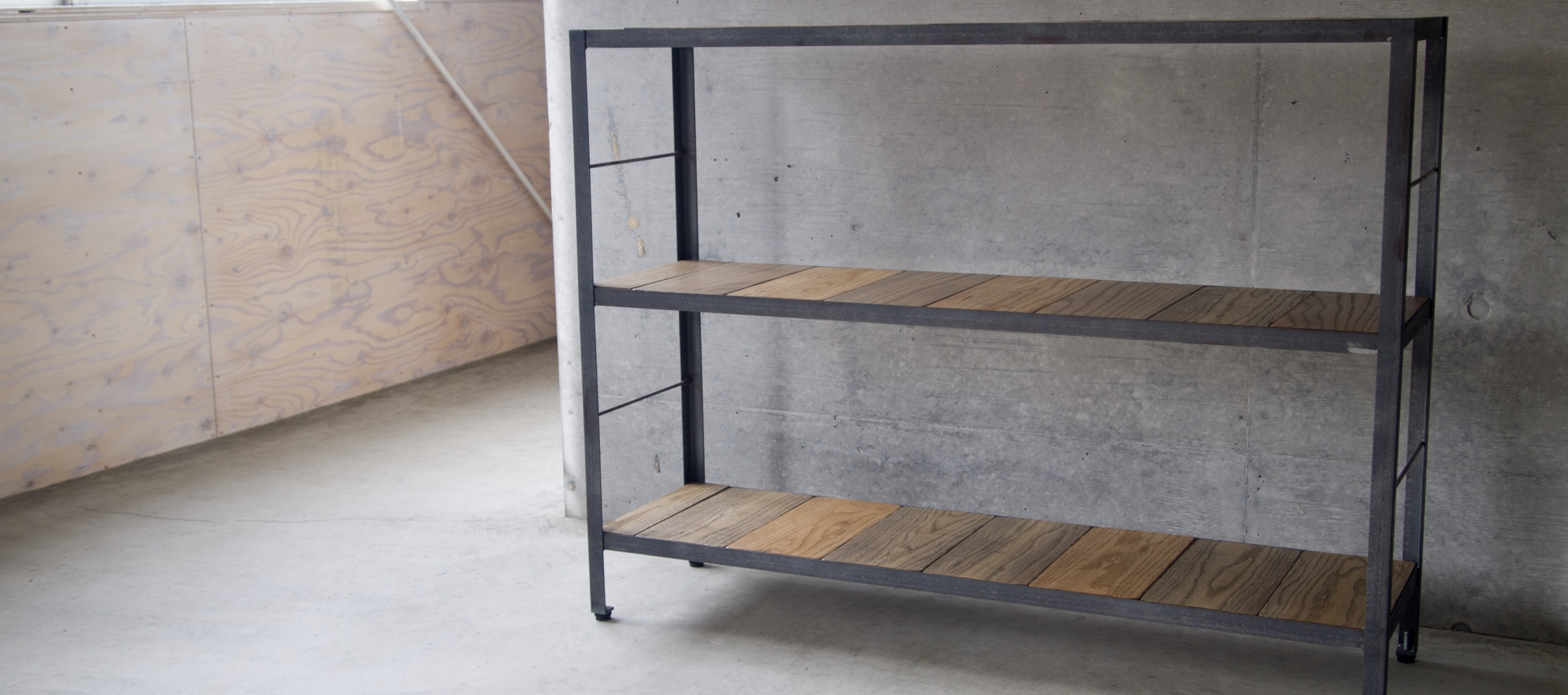 IRON FRAME & WHITE OAK OPEN SHELF